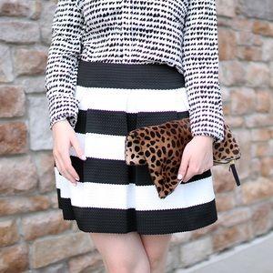 Stripe Pleated A-Line Skirt